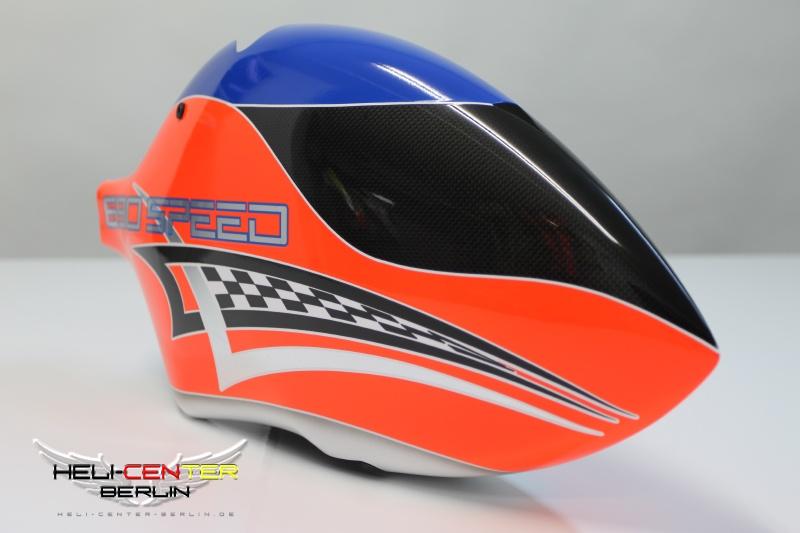 Haube 690 Speed neon rot / neon blau