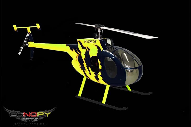 Hughes 500 D black/neon yellow