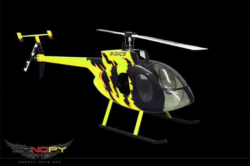 Hughes 500 E schwarz/neon gelb