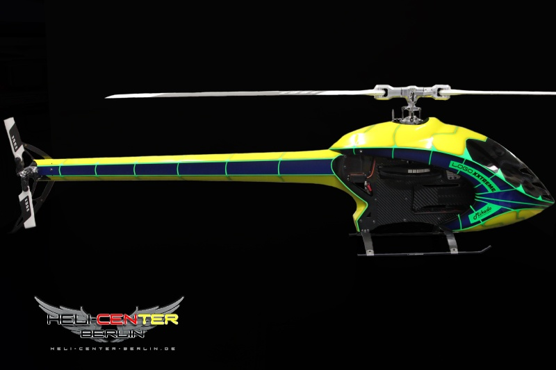 Tailboom Cover Logo 800 Carbon Fiber yellow / neon green